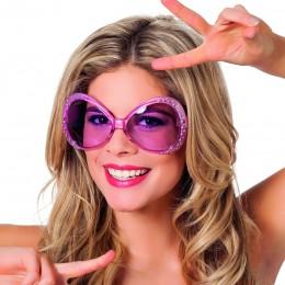 Grote bril met steentjes roze