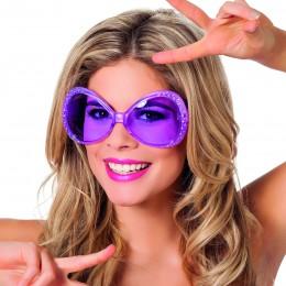 Grote bril met steentjes paars