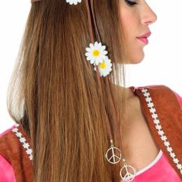 Haarband bruin met bloemetjes en peace teken