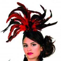 Haarband met veren zwart/rood