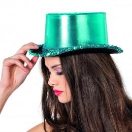 Hoge hoed paillettenband blauw