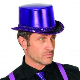 Hoge hoed paillettenband paars