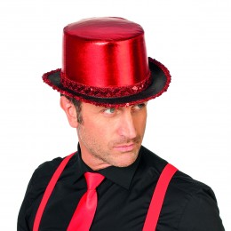 Hoge hoed paillettenband rood