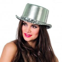 Hoge hoed paillettenband zilver