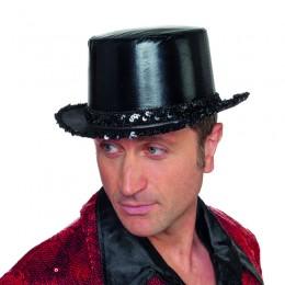 Hoge hoed paillettenband zwart