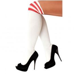 Cheerleader kousen wit met rood