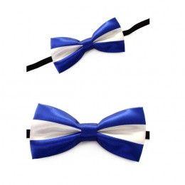 Luxe strik blauw-wit