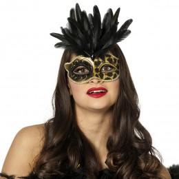 Masker panter met veren zwart
