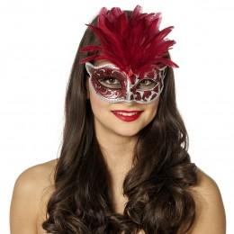 Masker panter met veren rood