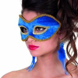 Masker (bril) fluweel uni aqua