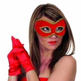Masker (bril) fluweel uni rood