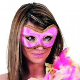 Masker (bril) fluweel uni rose