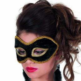 Masker (bril) fluweel uni zwart