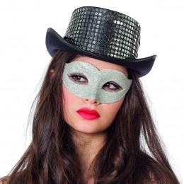 Masker ogen luxe glitter zilver