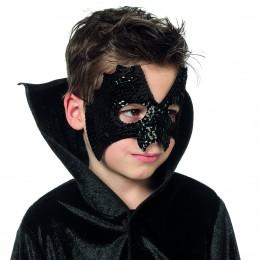 Masker vleermuis pailletten zwart