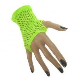 nethandschoenen kort vingerloos fluor groen