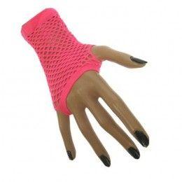 nethandschoenen kort vingerloos fluor roze
