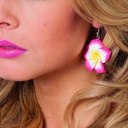 Oorbellen hawaiibloem roze