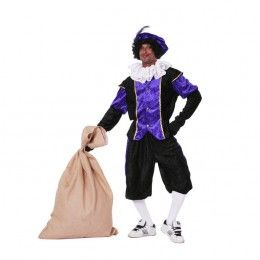 Piet kostuum budget dames  zwart/paars