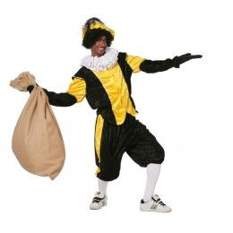 Piet kostuum budget  dames zwart/geel