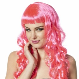 Pruik met pony en krullen neon-pink