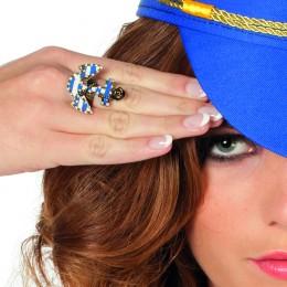 Ring met anker blauw/wit