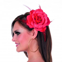 Roos met elastiek en kan als broche rood