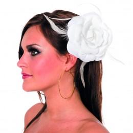Roos met elastiek en kan als broche wit