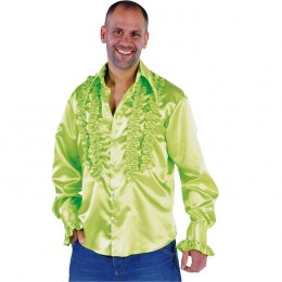 Ruches-blouse getailleerd neon groen
