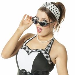 Set 60's zwart/wit (ketting oorbellen bril en sjaal)