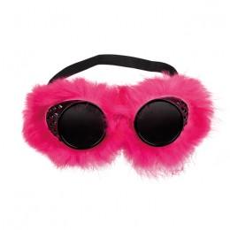 Steampunk bril met pluche roze