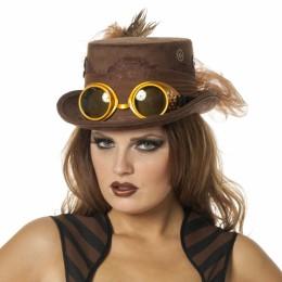 Hoge hoed steampunk bril bruin