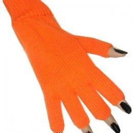 Vingerloze handschoenen neon oranje