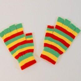 handschoenen, vingerloze handschoenen rood geel groen