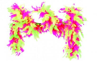 boa gemeleerd 65 gram 180cm lang neon pink/geel/groen