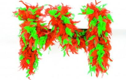 boa gemeleerd 65 gram 180cm lang oranje/groen