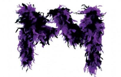boa gemeleerd 65 gram 180cm lang paars/zwart