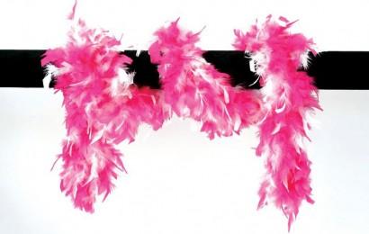 boa gemeleerd 65 gram 180cm lang pink/wit