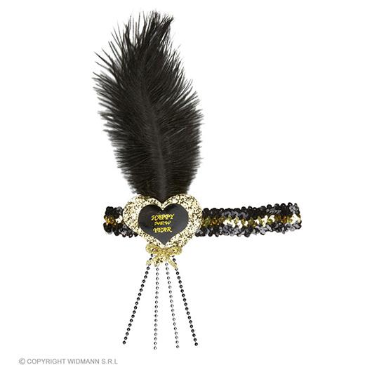 glitter hoofdbandje zwart/goud happy new year hartje