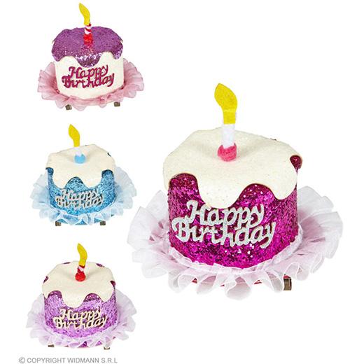 haarclip happy birthday glitter, 4 kleuren ass.