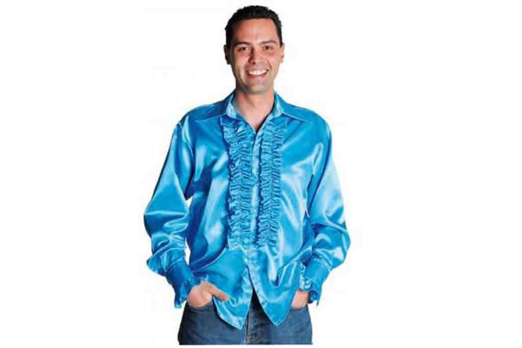 Ruches blouse aqua blauw