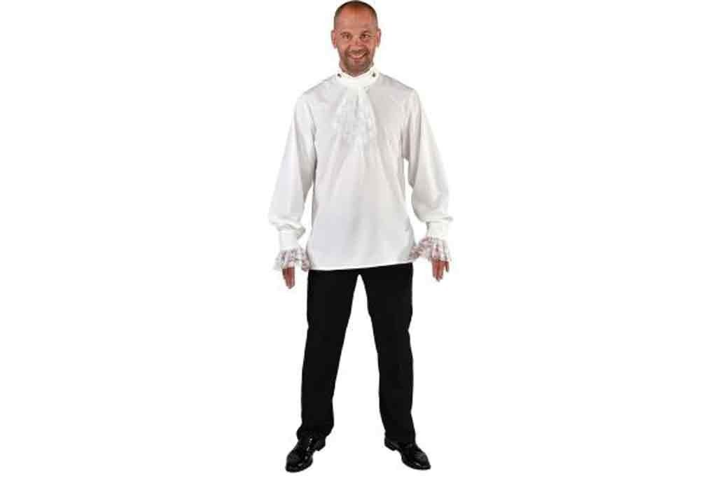 Middeleeuwse blouse wit met jabot