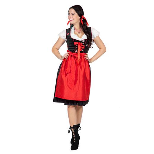 Dirndl jurkje zwart met rood