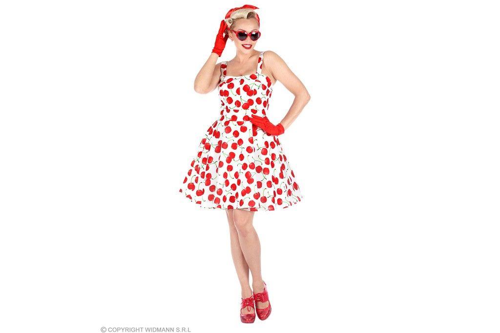 50's jurkje met petticoat kersen wit
