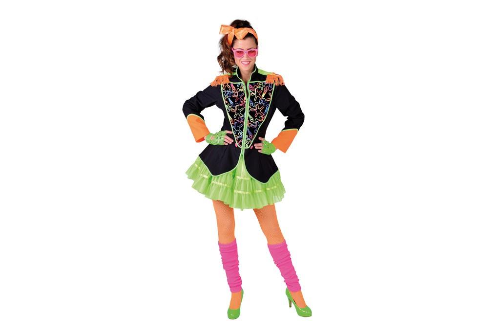 Carnavalsjasje 80s zwart met neon
