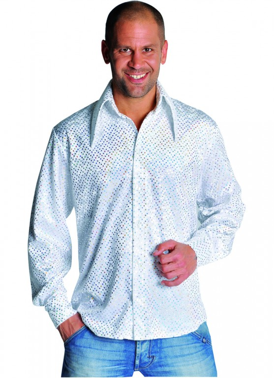 Disco blouse pailletten wit met zilver