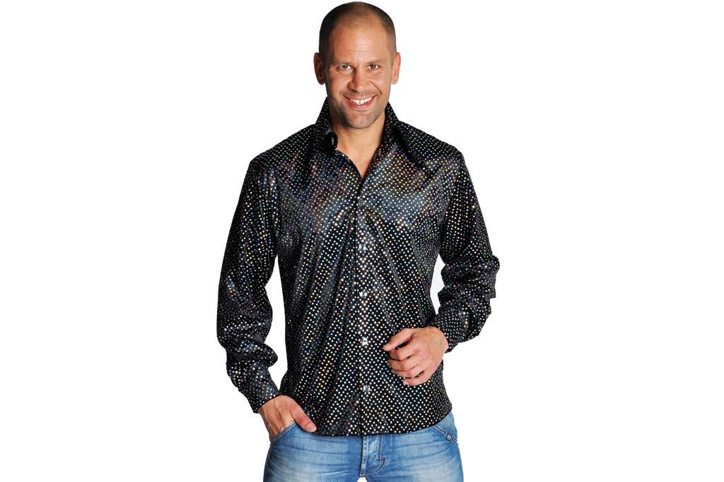Disco blouse pailletten zwart met zilver