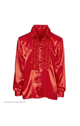 rouchen blouse satijn, rood