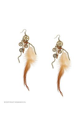 oorbellen steampunk met veren