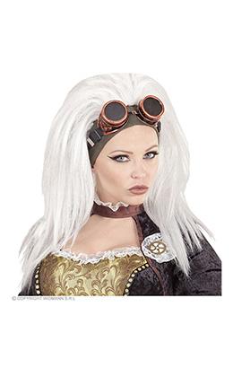 pruik, steampunk met stofbril
